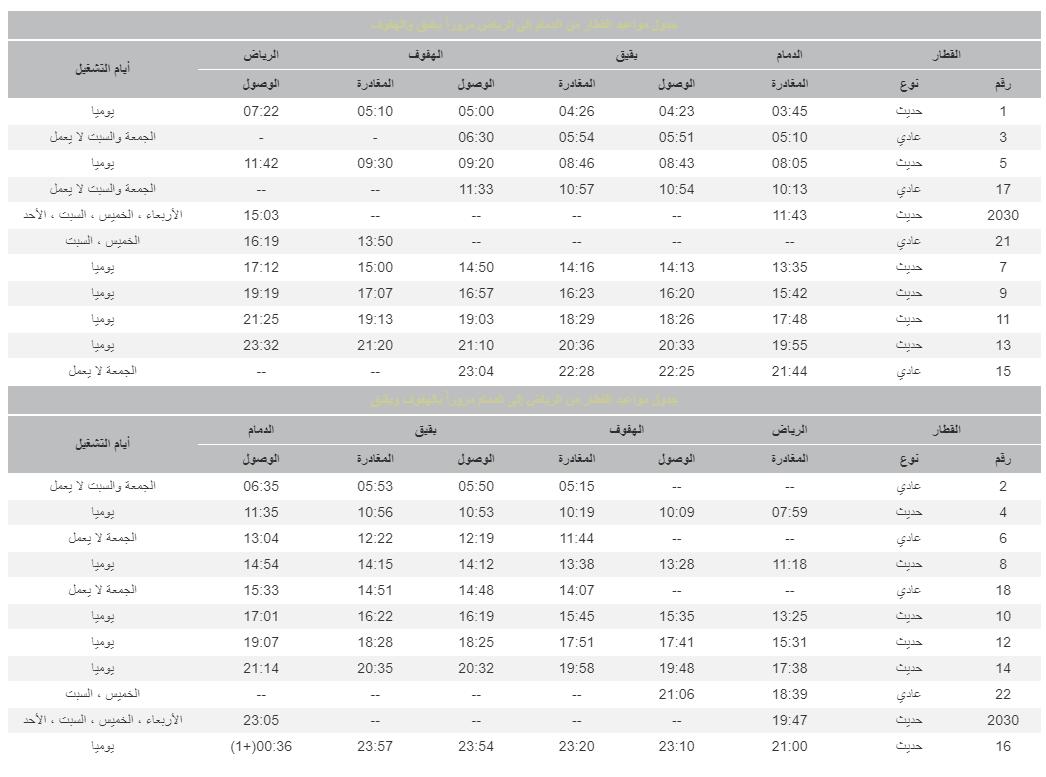 جدول رحلات الرياض الدمام بالخطوط الحديدة